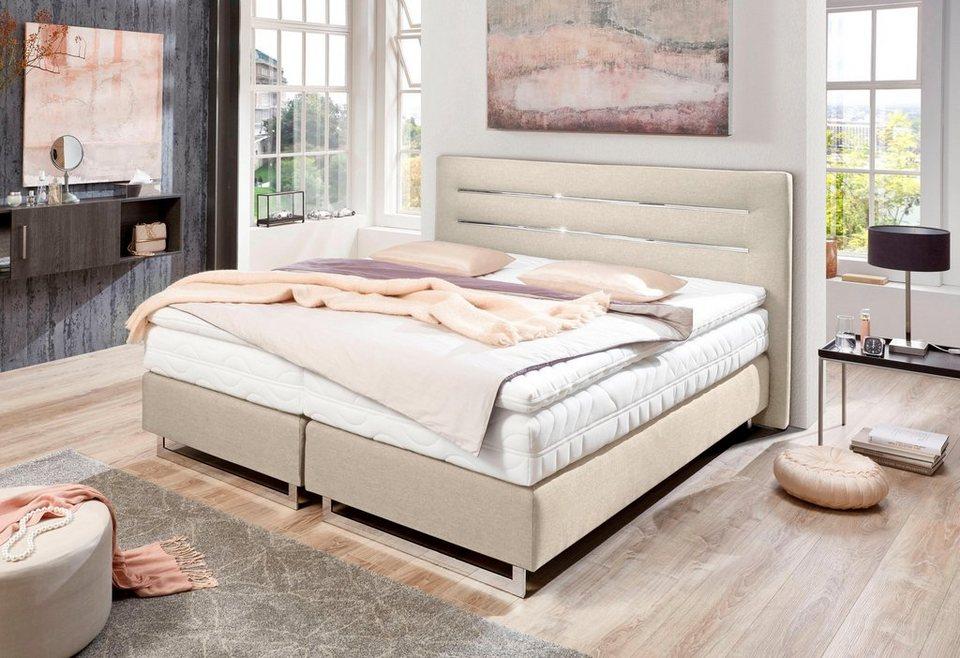 westfalia schlafkomfort boxspringbett mit verchromten kufen in diversen ausf hrungen online. Black Bedroom Furniture Sets. Home Design Ideas