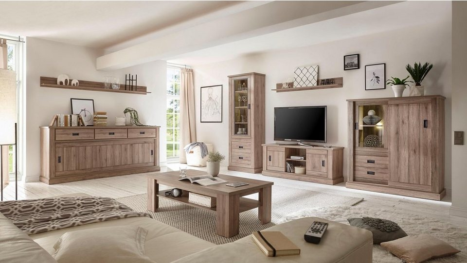home affaire wohnwand anthony 4 tlg besteht aus vitrine lowboard wandboard kommode. Black Bedroom Furniture Sets. Home Design Ideas