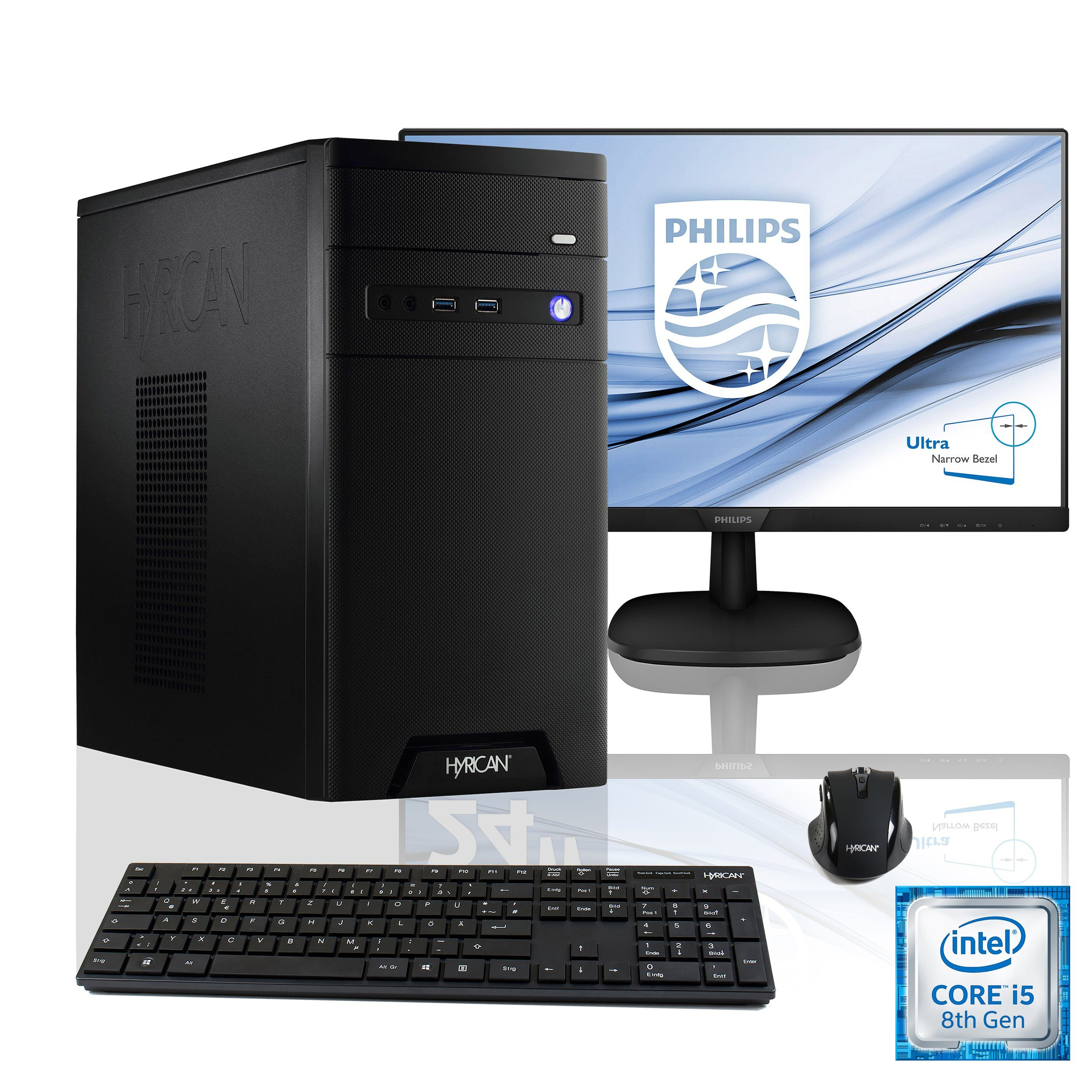 HYRICAN Intel® i5-8400 8GB 120GB 1TB GeForce® GTX 1060 + Monitor »CyberGamer SET1433«