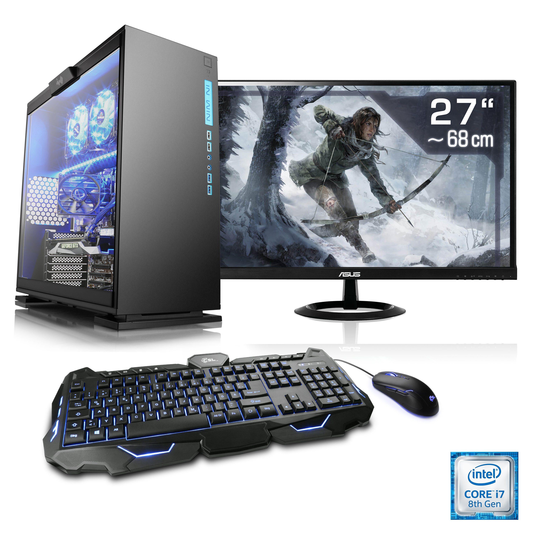 "CSL Gaming PC Set i7-8700 | GeForce GTX 1050 Ti | 16GB RAM | 27"" TFT »Speed T9591 Windows 10 Home«"