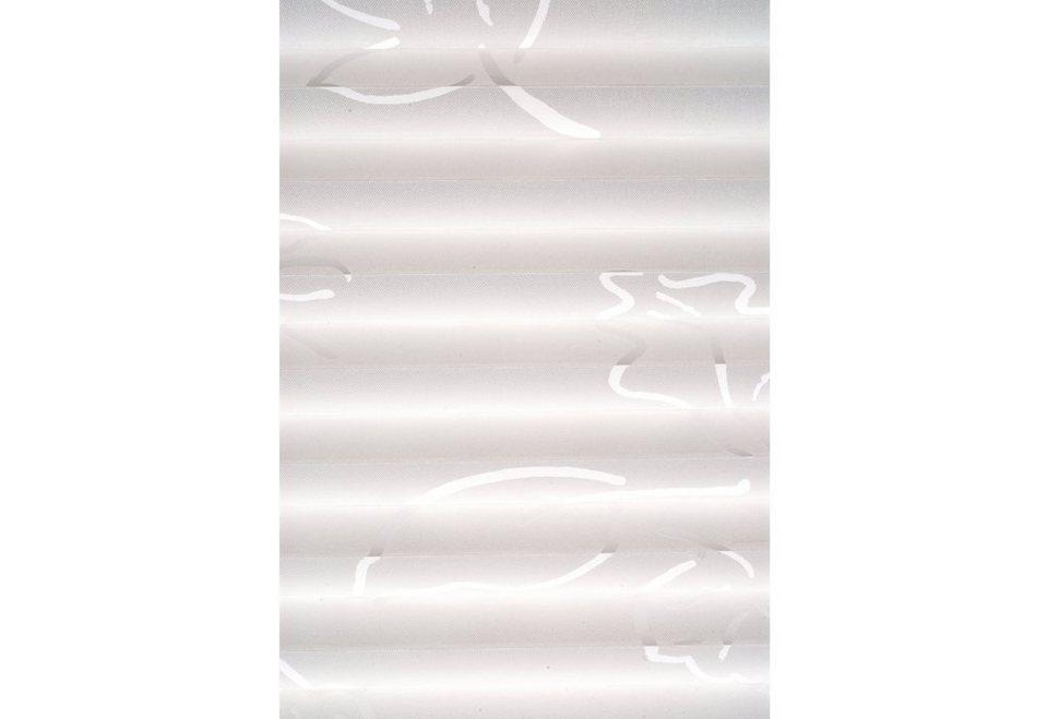 Plissee, Sunlines, Wunschmaß, Lichtschutz in weiß Strichdekor