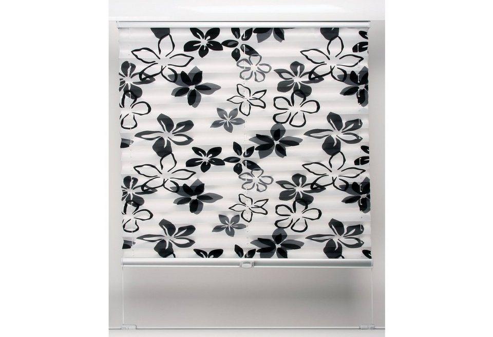 Plissee, Sunlines, Wunschmaß, Lichtschutz in schwarz-weiß Blumen