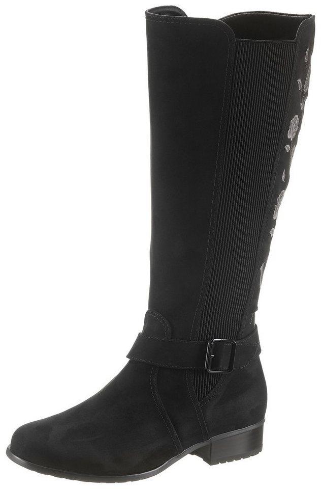 Jenny Weitschaftstiefel mit XL-Schaft und Blütenstickerei | Schuhe > Stiefel > Weitschaftstiefel | Schwarz | Jenny