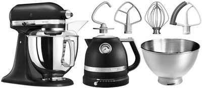 KitchenAid Küchenmaschine Artisan 5KSM175PSEBK, 300 W, 4,8 l Schüssel, mit Gratis Wasserkocher, 2. Schüssel, Flexirührer. Farbe: Gusseisen Schwarz