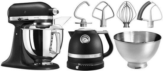 KitchenAid Küchenmaschine Artisan 5KSM175PSEBK mit Gratis Wasserkocher, 2. Schüssel, Flexirührer, 300 W, 4,8 l Schüssel