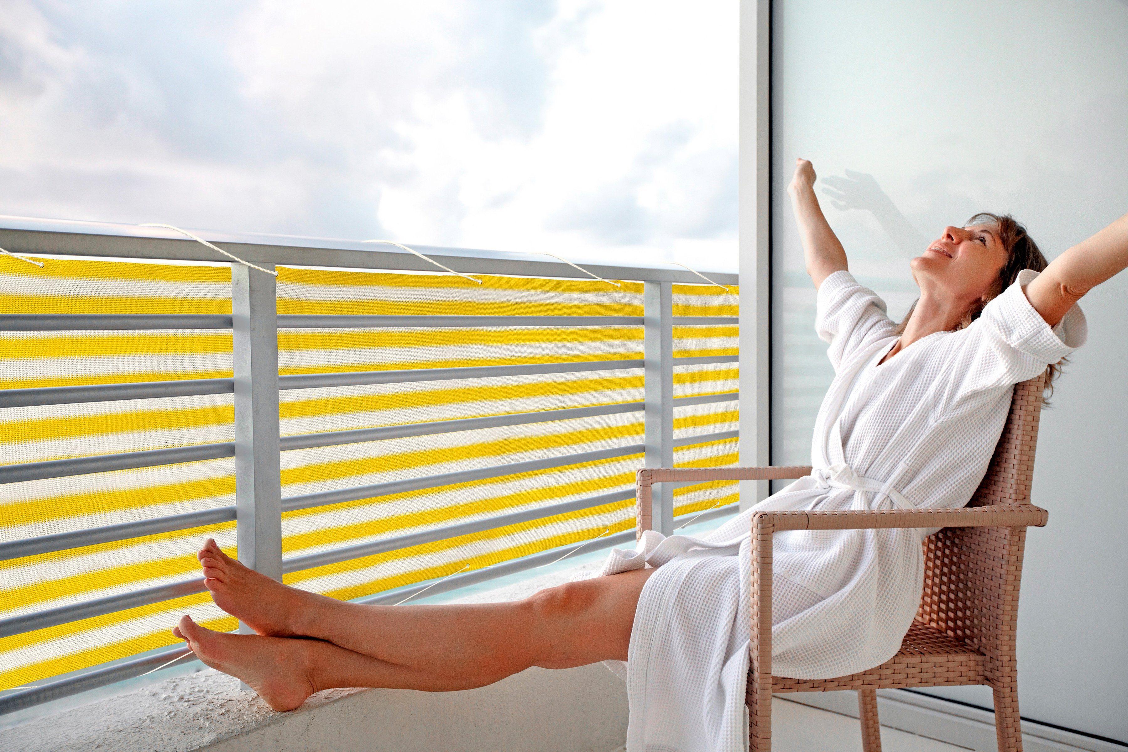 PEDDY SHIELD Balkonsichtschutz , BxH: 500x90 cm, gelb/weiß