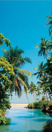 PAPERMOON Fototapete »Palm Logoon - Türtapete«, BlueBack, 2 Bahnen, 90 x 200 cm