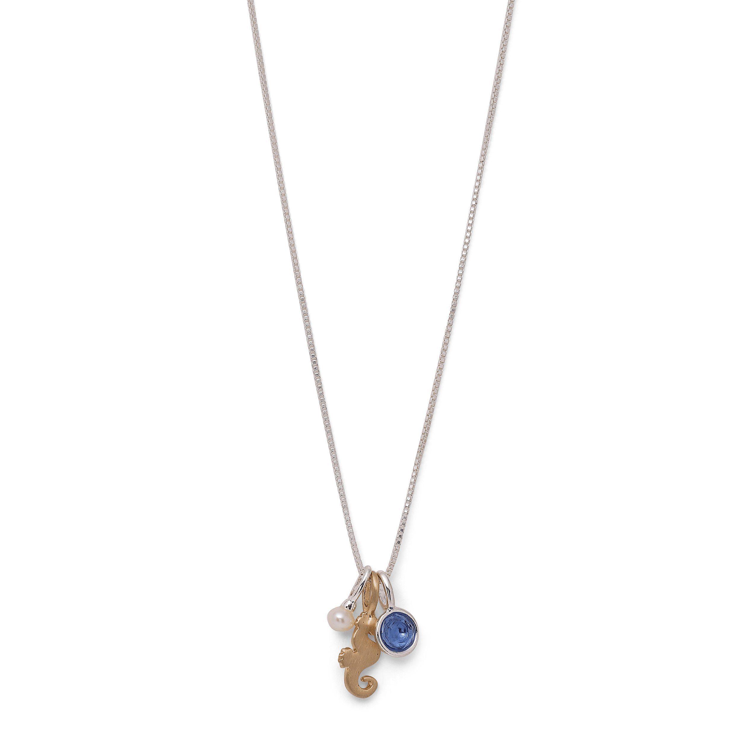 Pilgrim Kette mit Anhänger »Glücksbringer« mit Süßwasserperle, blauer Glasstein und goldenes Seepferdchen