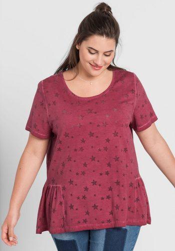 Damen sheego Casual T-Shirt in Oil-washed-Optik rot | 04061303028951