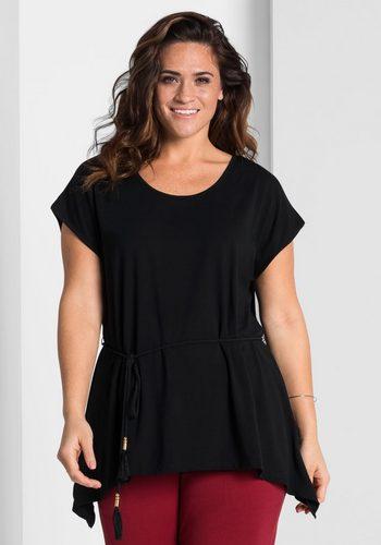 Damen sheego Style Zipfelshirt schwarz | 04061303013094