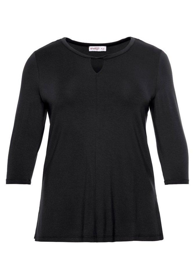 Damen sheego Style 3/4-Arm-Shirt schwarz | 04061303014091