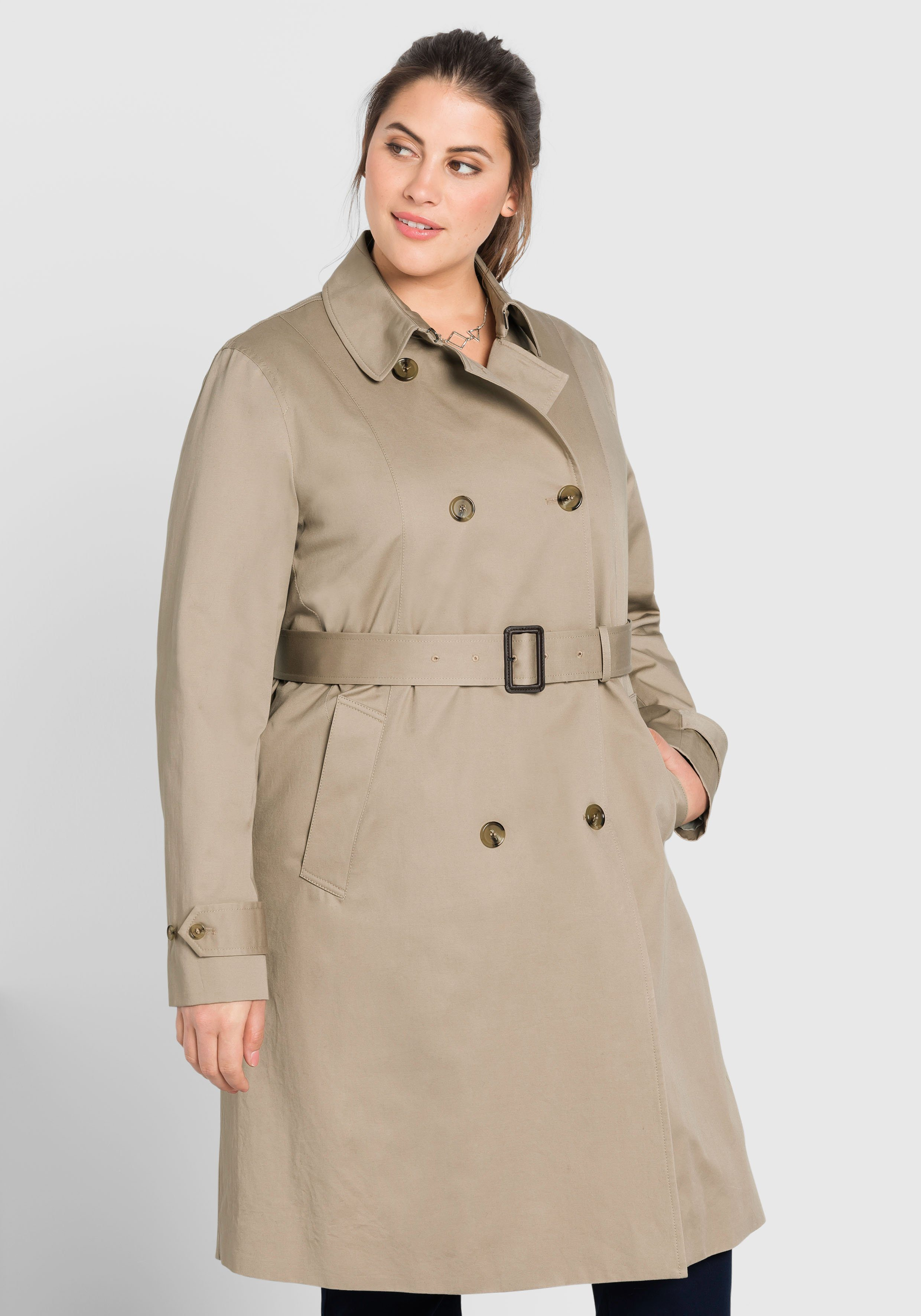 sheego Casual Trenchcoat mit abknöpfbarem Innenfutter | Bekleidung > Mäntel > Trenchcoats | sheego Casual