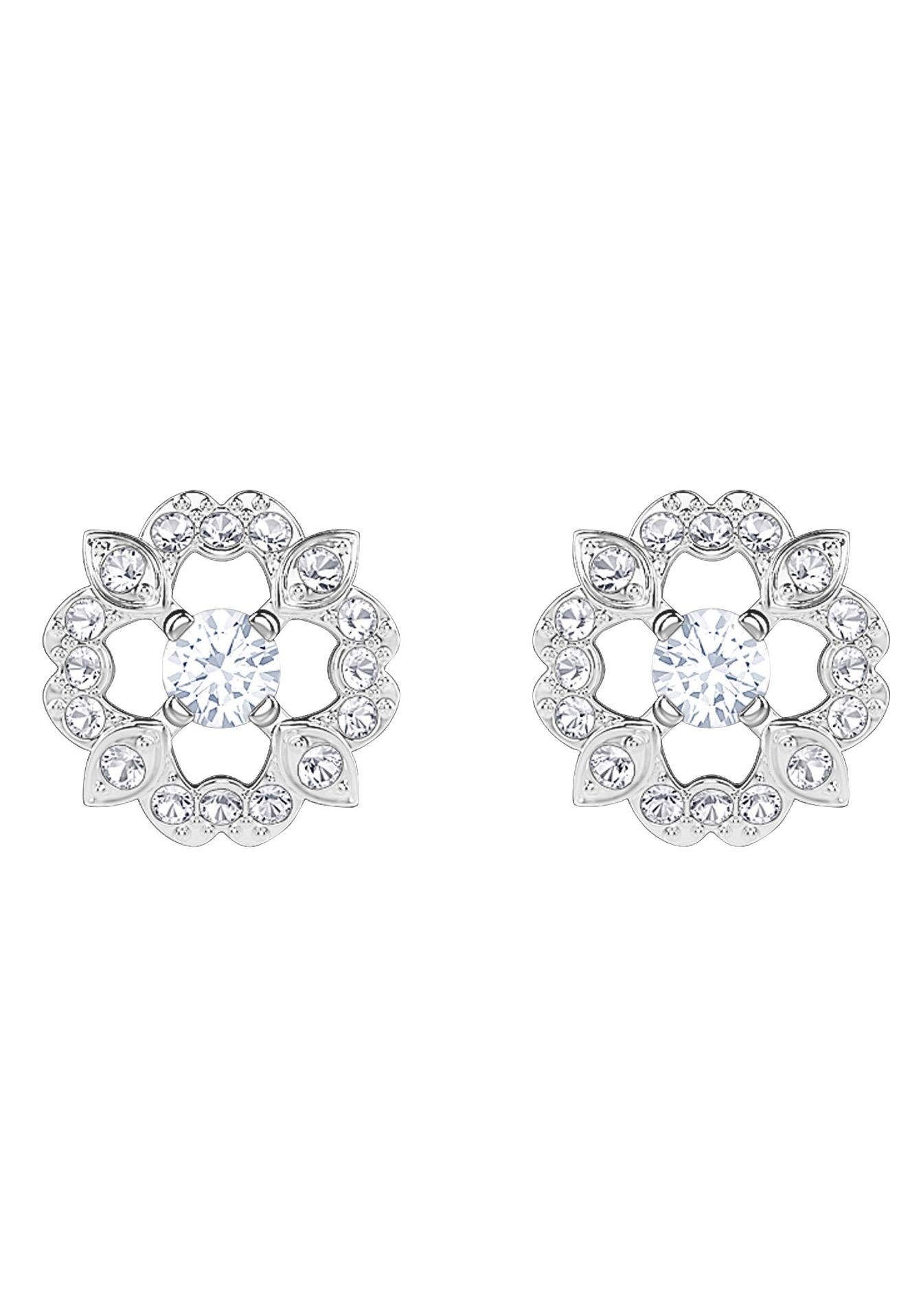 Swarovski Paar Ohrstecker »Sparkling Dance Flower, weiss, rhodiniert, 5396227« mit Swarovski® Kristallen