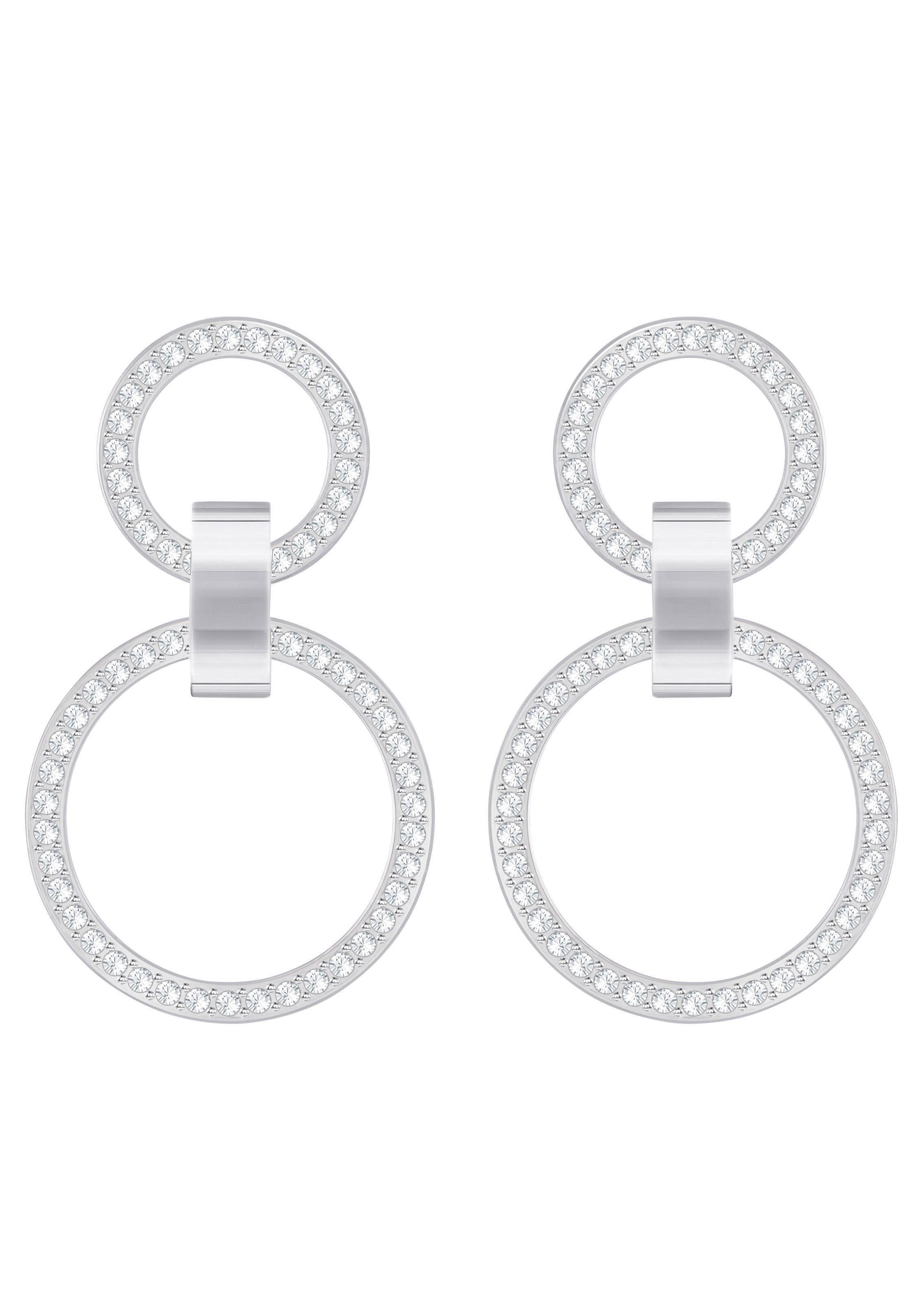 Swarovski Paar Ohrstecker »Hollow, weiss, rhodiniert, 5349353«, mit Swarovski® Kristallen
