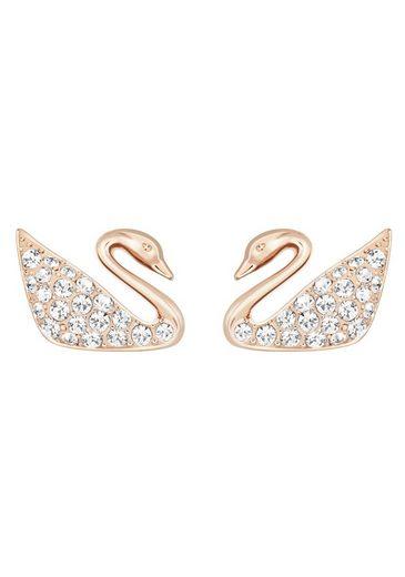 Swarovski Paar Ohrstecker »Swan Mini, weiss, rosé Vergoldung, 5144289«, mit Swarovski® Kristallen