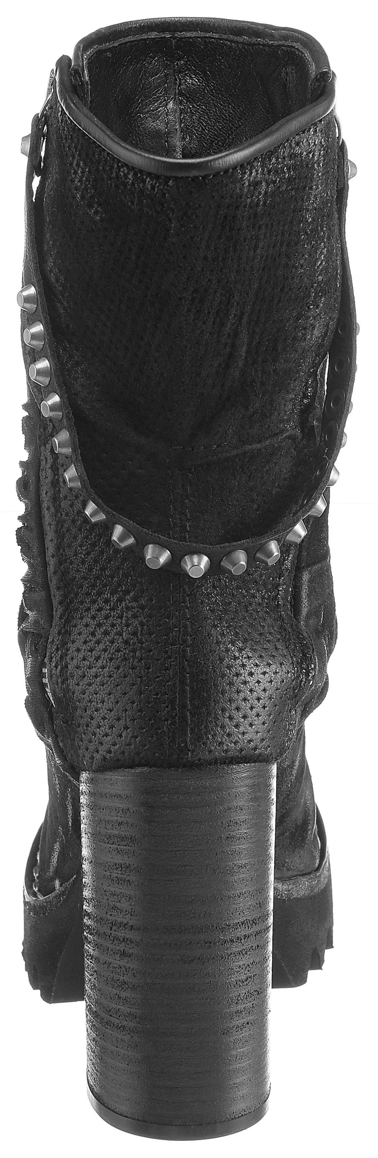 AS98 High-Heel-Stiefelette, mit Perforation  schwarz
