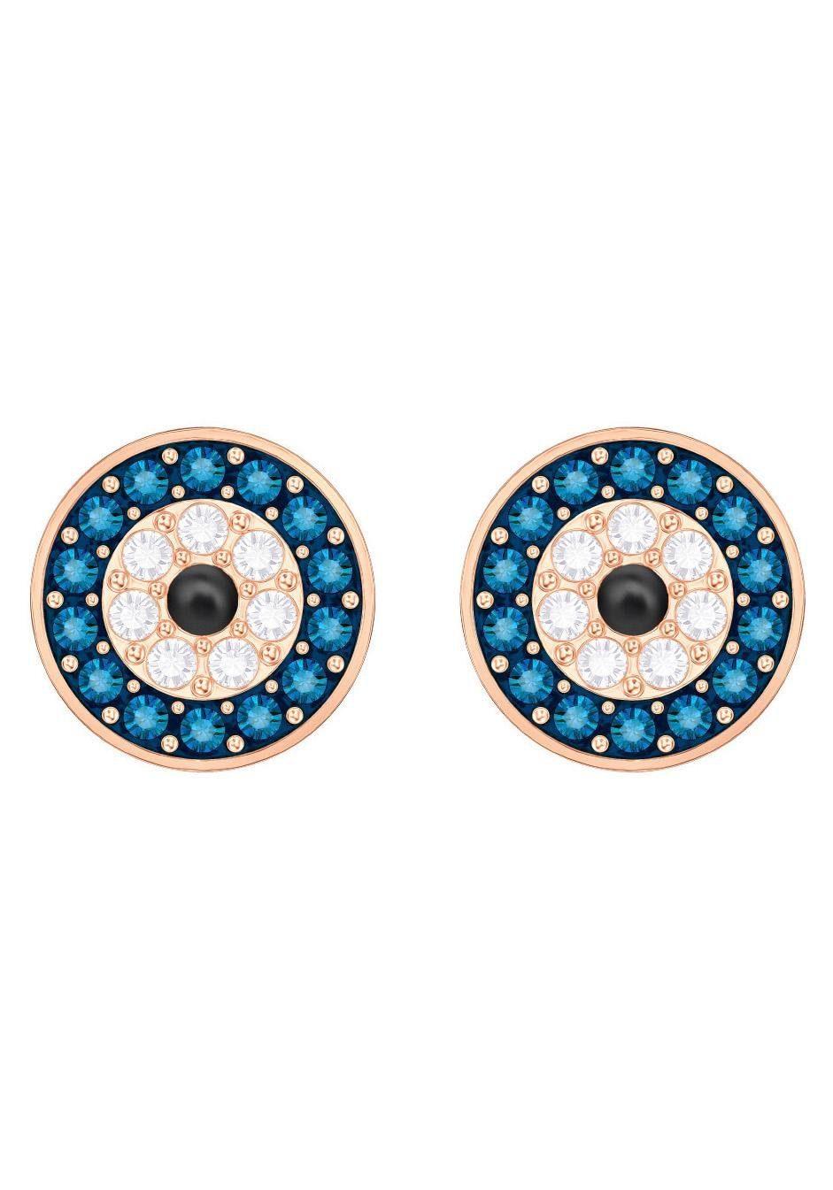 Swarovski Paar Ohrstecker »Duo Evil Eye, mehrfarbig, rosé Vergoldung, 5377720« mit Swarovski® Kristallen