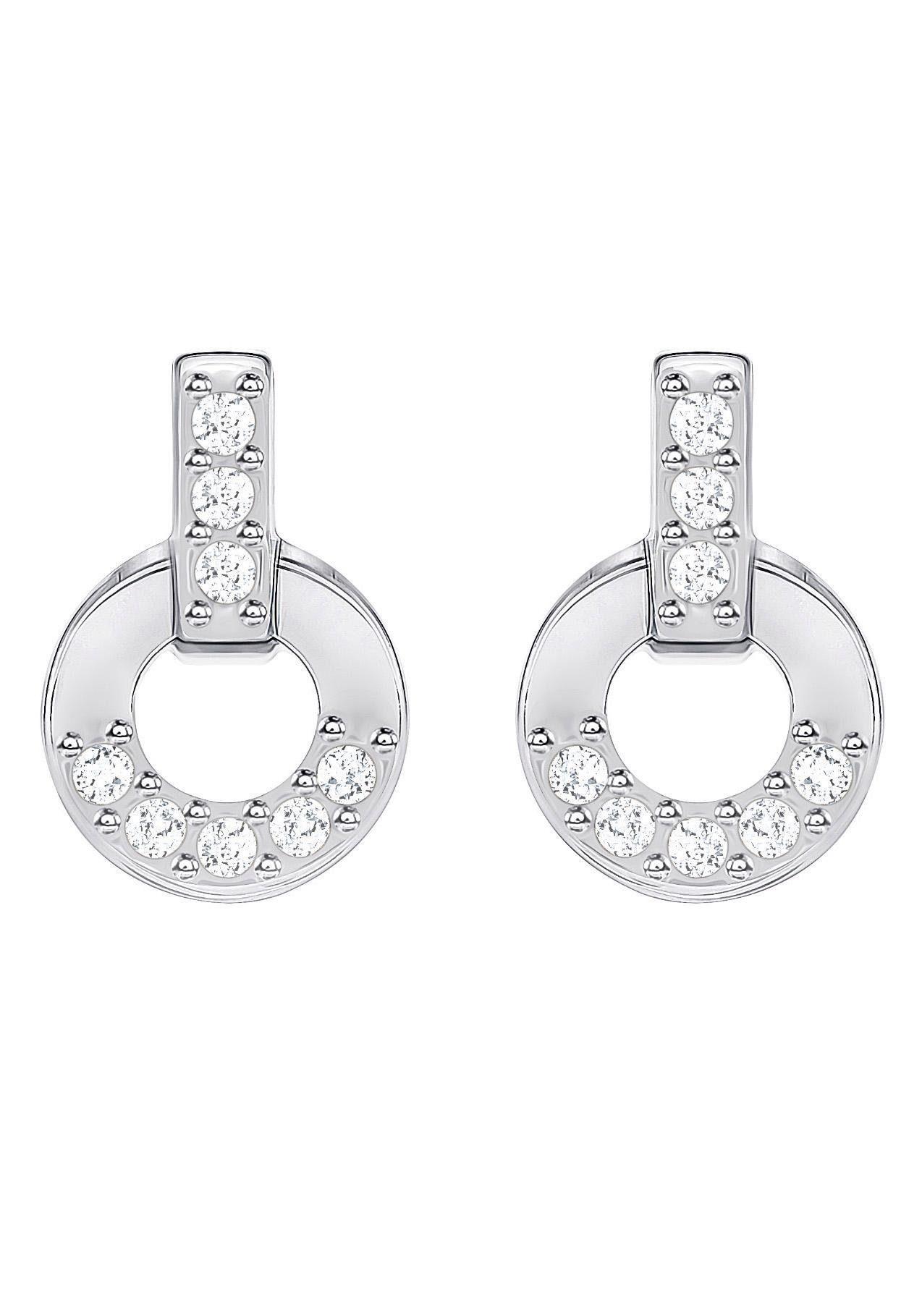 Swarovski Paar Ohrstecker »Circle, weiss, rhodiniert, 5349195« mit Swarovski® Kristallen