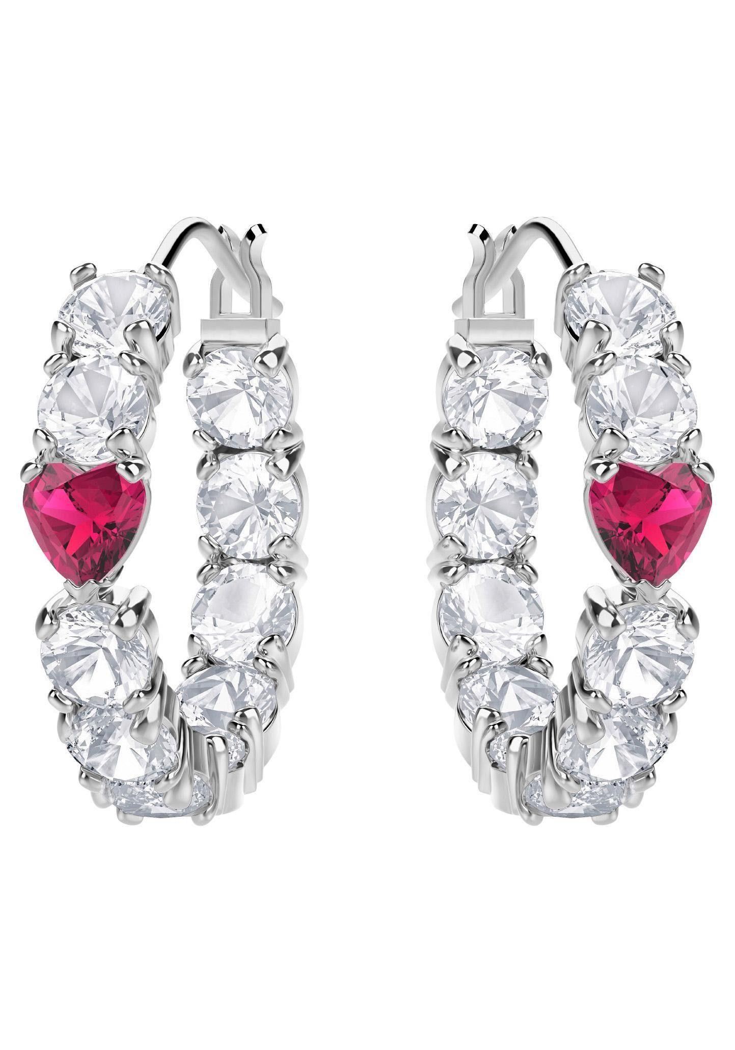 Swarovski Paar Creolen »Herzen, Love, weiss, rhodiniert, 5391763« mit Swarovski® Kristallen