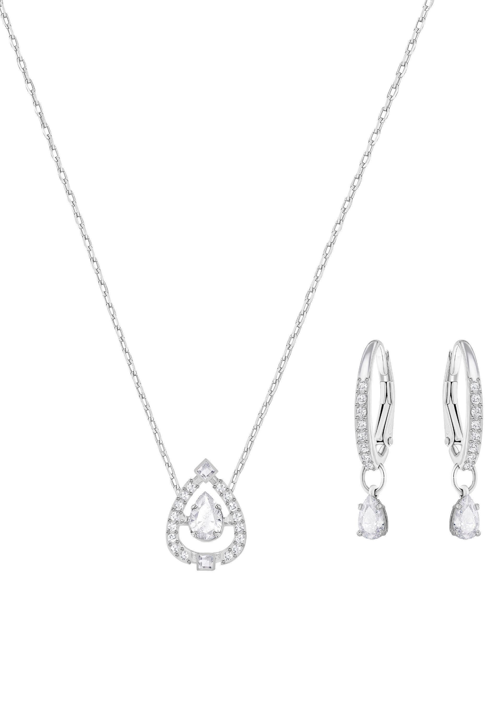 Swarovski Ohrring und Ketten Set »Sparkling Dance Pear Set, klein, weiss, rhodiniert, 5272368« (Set, 3 tlg) mit Swarovski® Kristallen