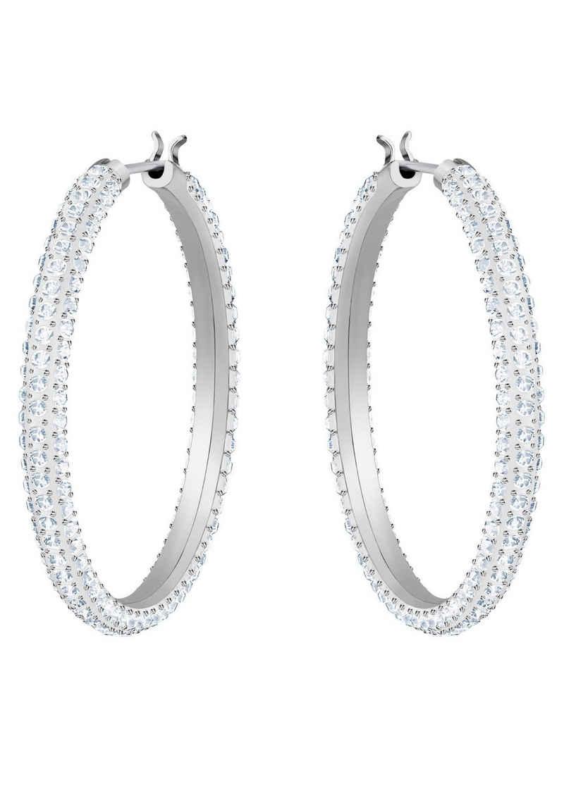 Swarovski Paar Creolen »Stone, weiss, rhodiniert, 5389432«, mit Swarovski® Kristallen