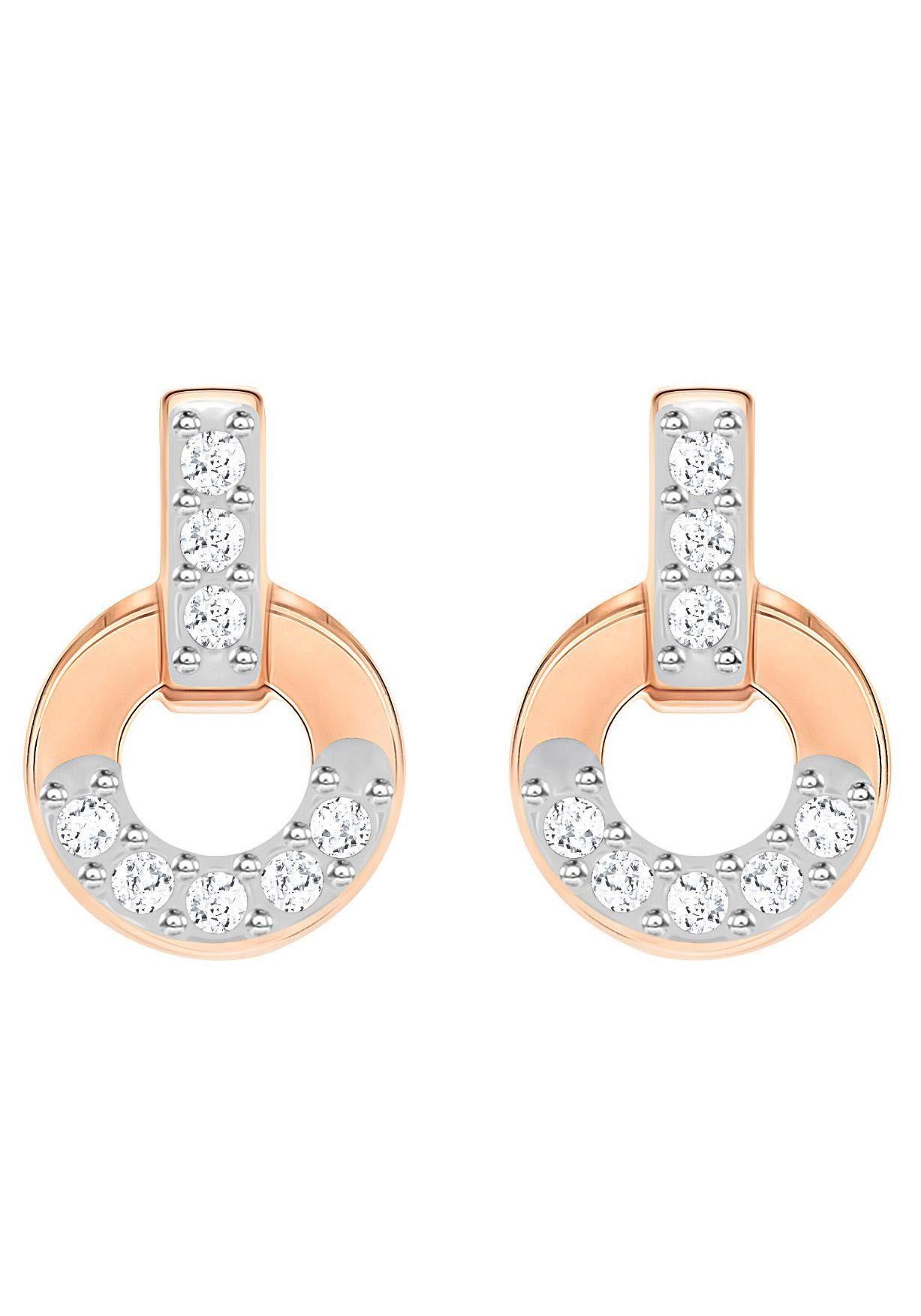 Swarovski Paar Ohrstecker »Circle, weiss, rosé vergoldung, 5350653« mit Swarovski® Kristallen