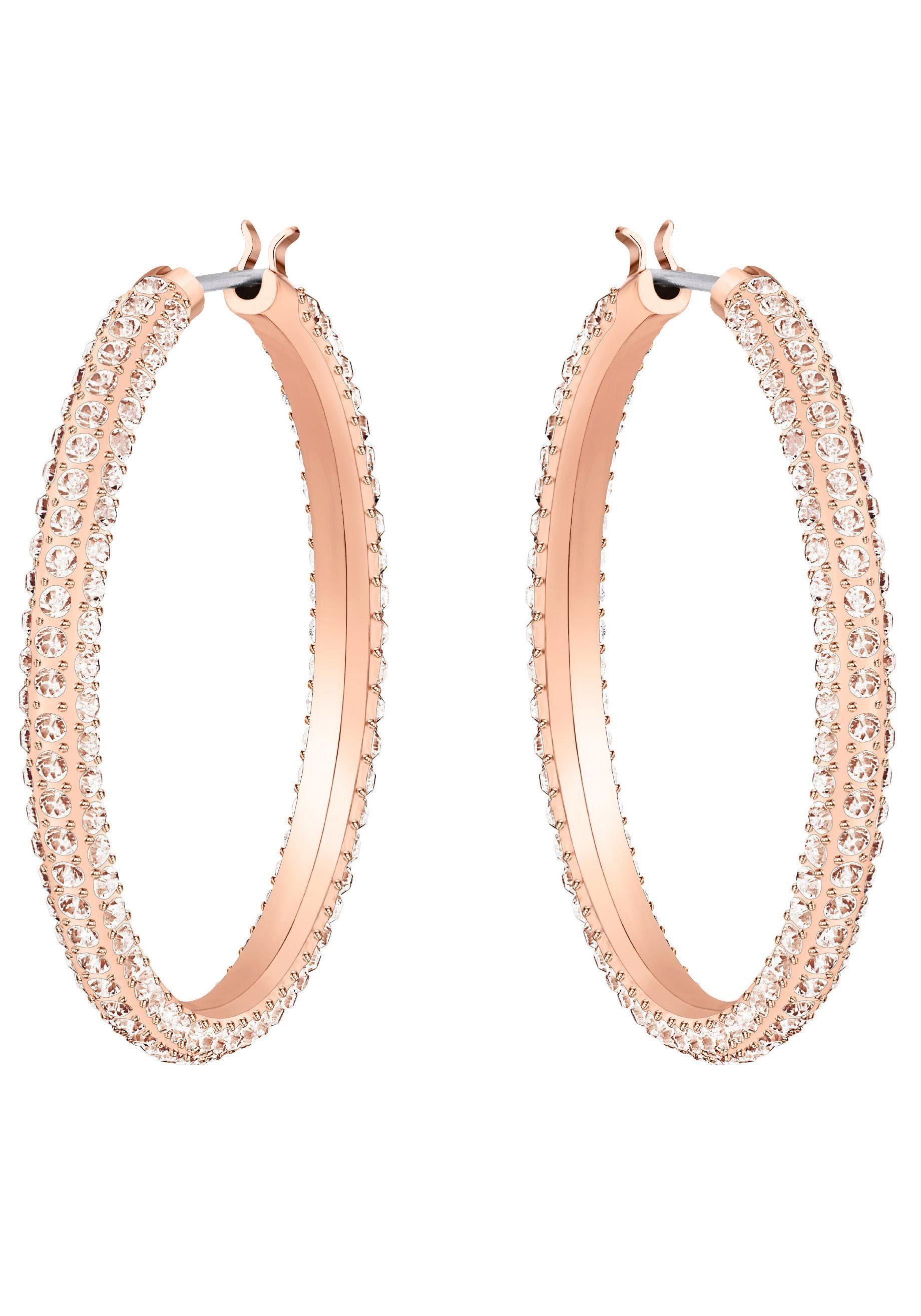 Swarovski Paar Creolen »Stone, rosa, rosé Vergoldung, 5383938« mit Swarovski® Kristallen