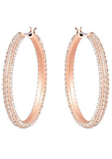 Swarovski Paar Creolen »Stone, rosa, rosé Vergoldung, 5383938«, mit Swarovski® Kristallen