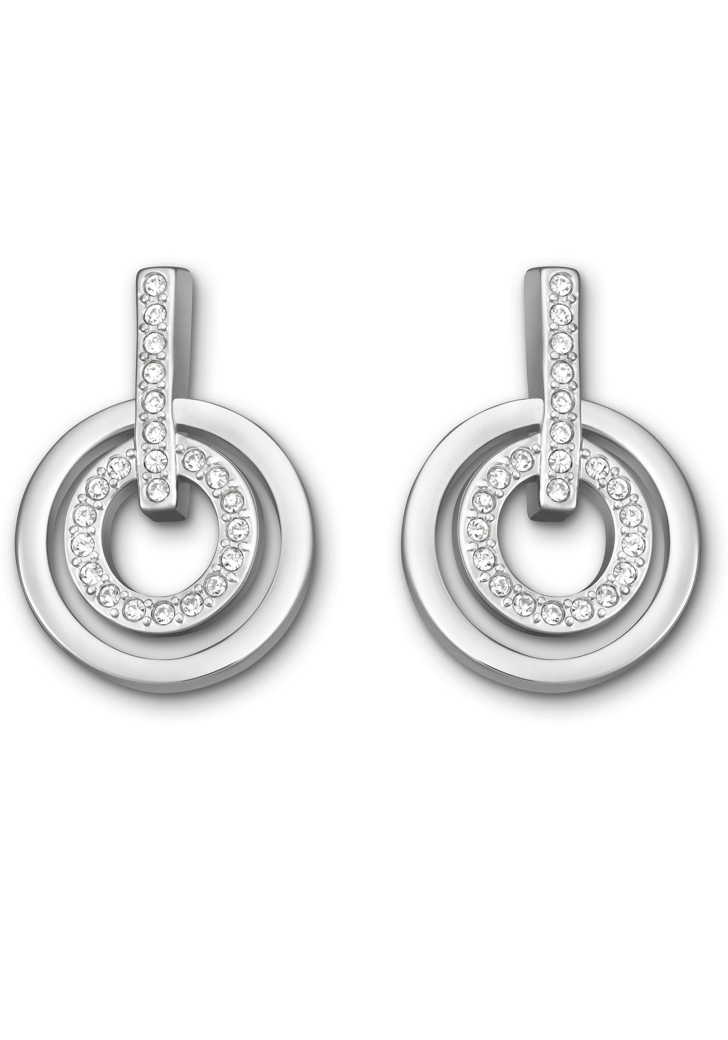 Swarovski Paar Ohrstecker »Circle Mini, weiss, rhodiniert, 5007750«, mit Swarovski® Kristallen