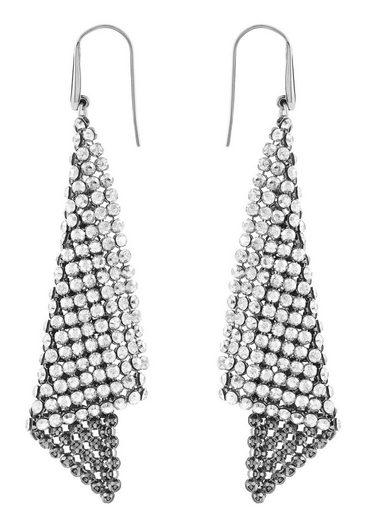 Swarovski Paar Ohrhaken »Fit, grau, rhodiniert, 976061«, mit Swarovski® Kristallen