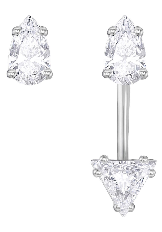 Swarovski Paar Ohrstecker »Attract Triangle mit Jacket, weiss, rhodiniert, 5274078« mit Swarovski® Kristallen und abnehmbarem Einhänger