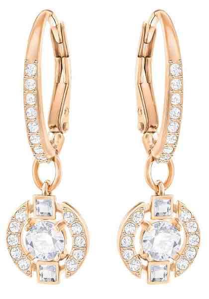 Swarovski Paar Ohrhänger »Sparkling Dance Round, weiss, rosé Vergoldung, 5272367« mit Swarovski® Kristallen