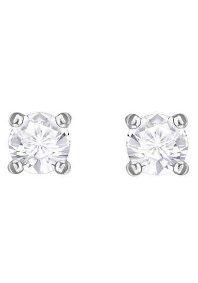Swarovski Paar Ohrstecker »Attract Round, weiss, rhodiniert, 5408436«, mit Swarovski® Kristallen
