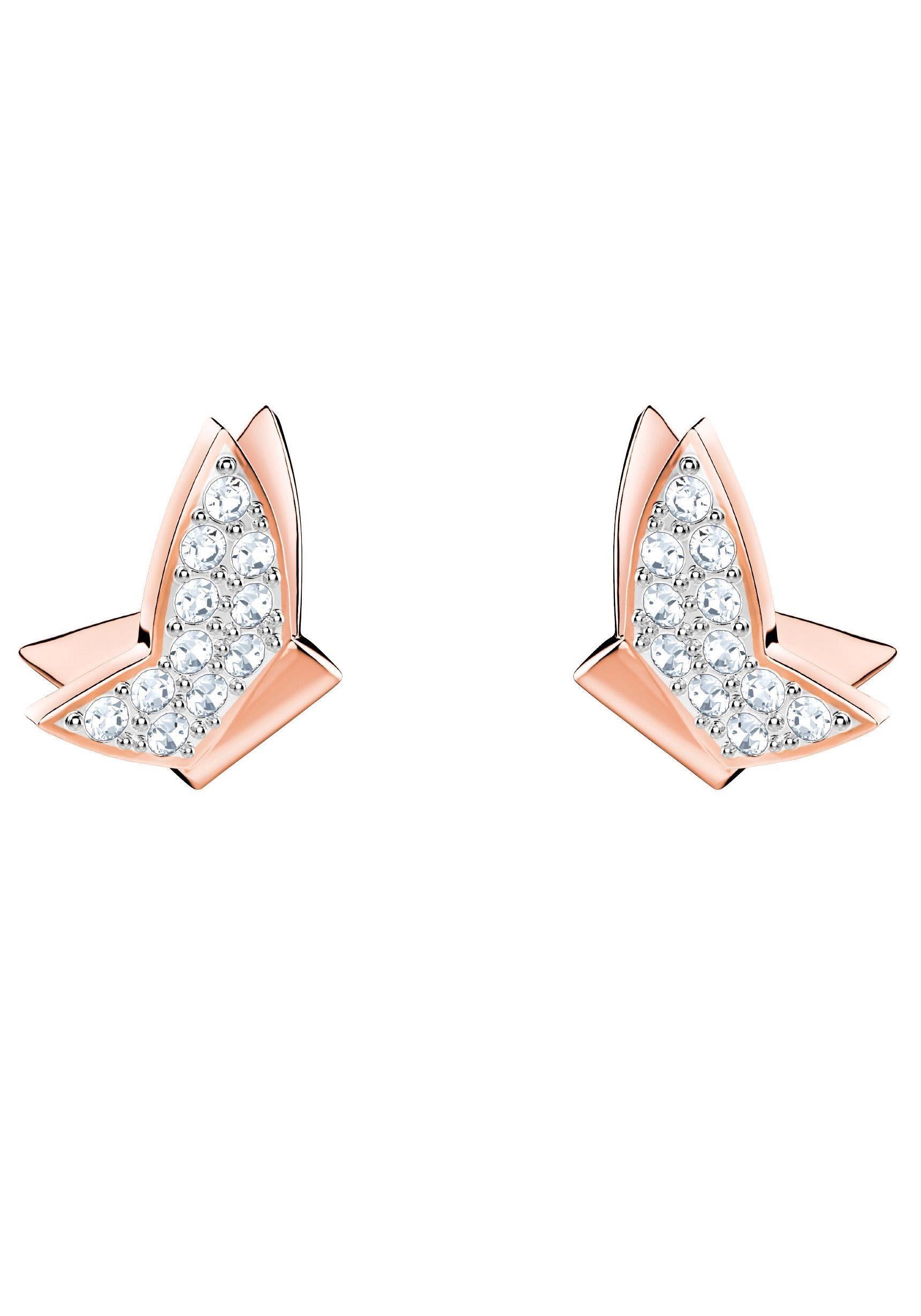 Swarovski Paar Ohrstecker »Schmetterlinge, Lilia Fig, weiss, rosé Vergoldung, 5382367« mit Swarovski® Kristallen
