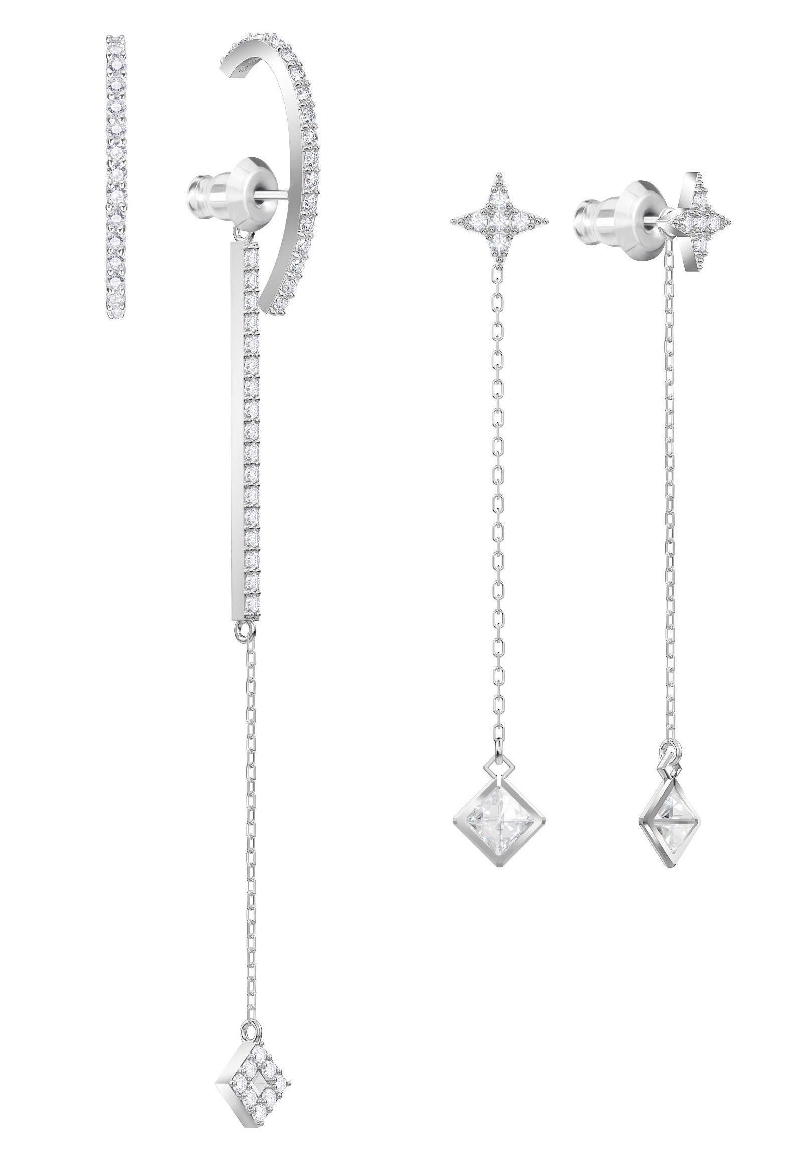 Swarovski Ohrhänger-Set »Vittore, weiss, rhodiniert, 5374830« (Set, 4 tlg) mit Swarovski® Kristallen