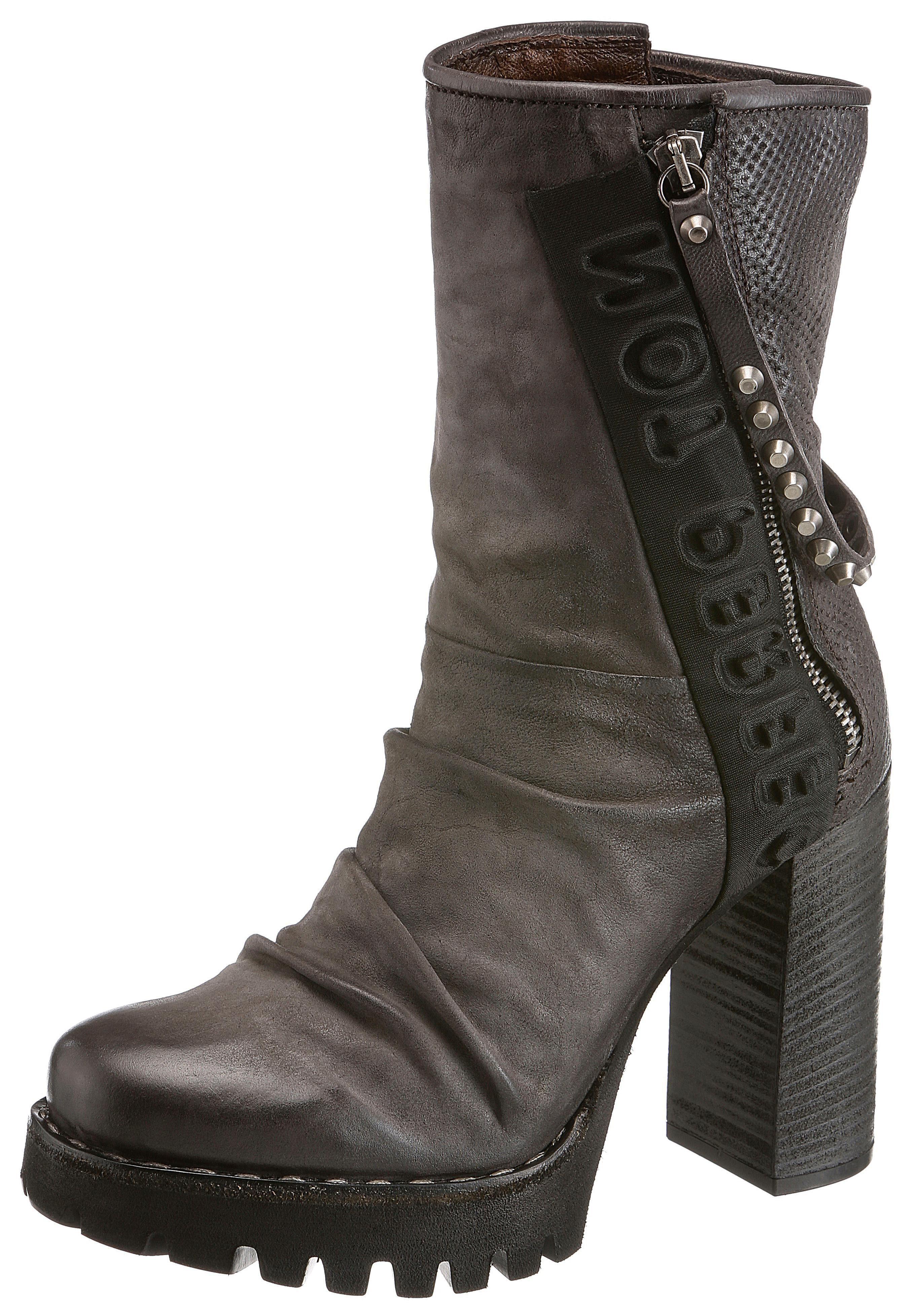 AS98 High-Heel-Stiefelette, mit Perforation  grau