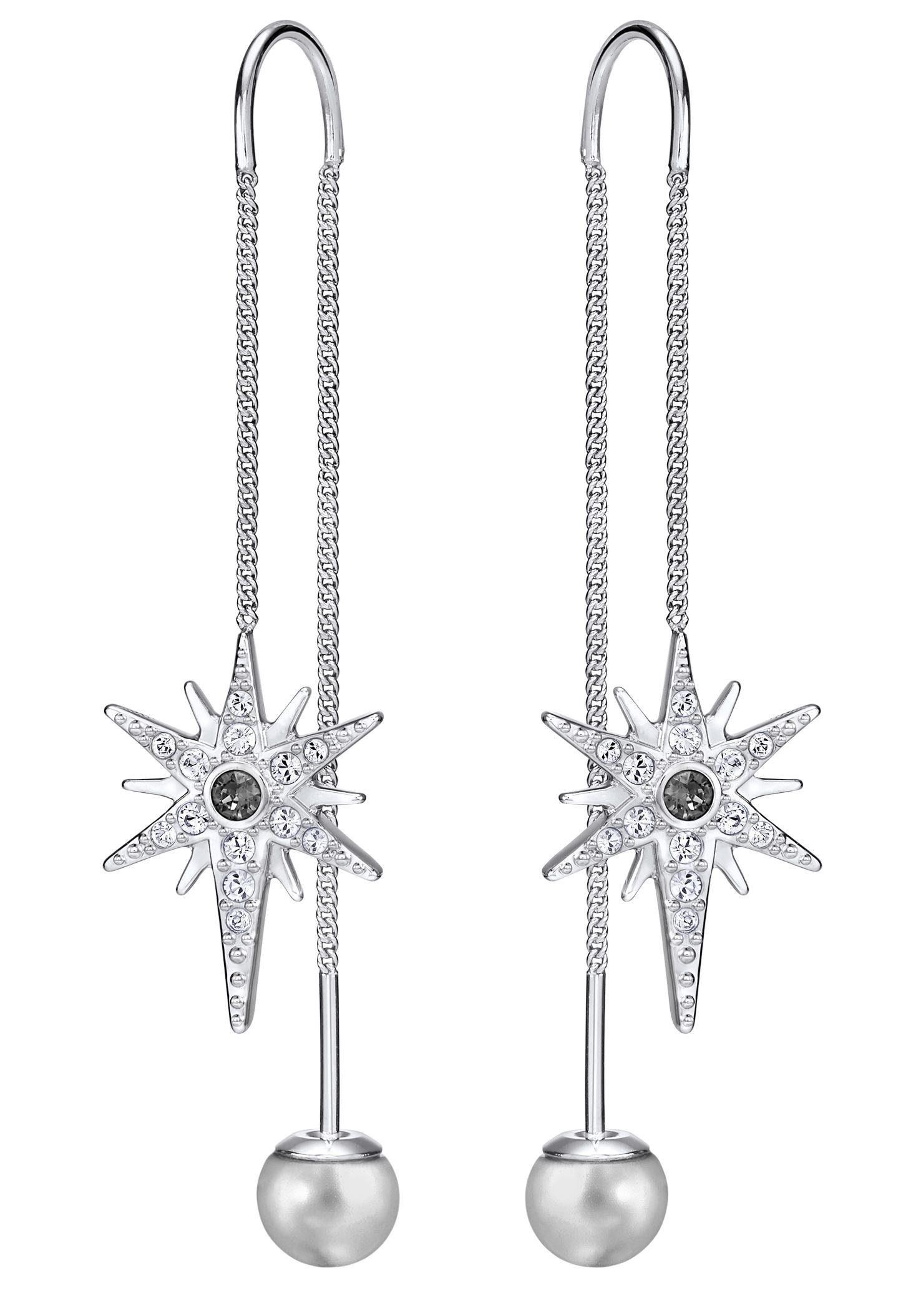 Swarovski Paar Ohrhänger »Fantastic Chain, weiss, rhodiniert, 5230603« mit Swarovski® Kristallen und Swarovski® Perlen