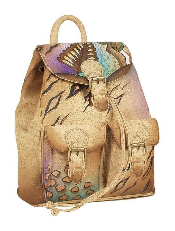 Art & Craft Cityrucksack, aus handbemalten Rindsleder mit praktischem Reißverschluss-Rückfach   Taschen > Rucksäcke > Sonstige Rucksäcke   Art & Craft