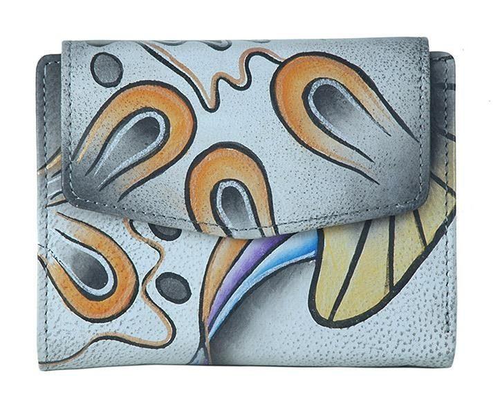 Art & Craft Geldbörse, aus handbemalten Leder, im praktischem Format