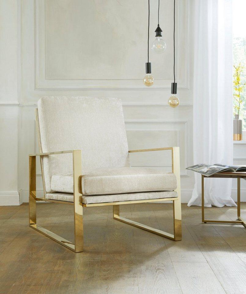 gmk home living sessel melnwai mit elegantem vergoldetem metallgestell und weichem. Black Bedroom Furniture Sets. Home Design Ideas