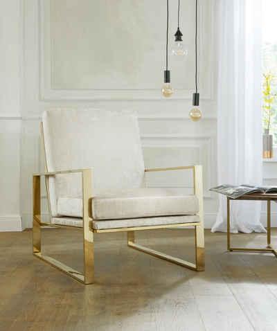 GMK Home U0026 Living Sessel »Melnwai«, Mit Elegantem, Vergoldetem  Metallgestell Und Weichem