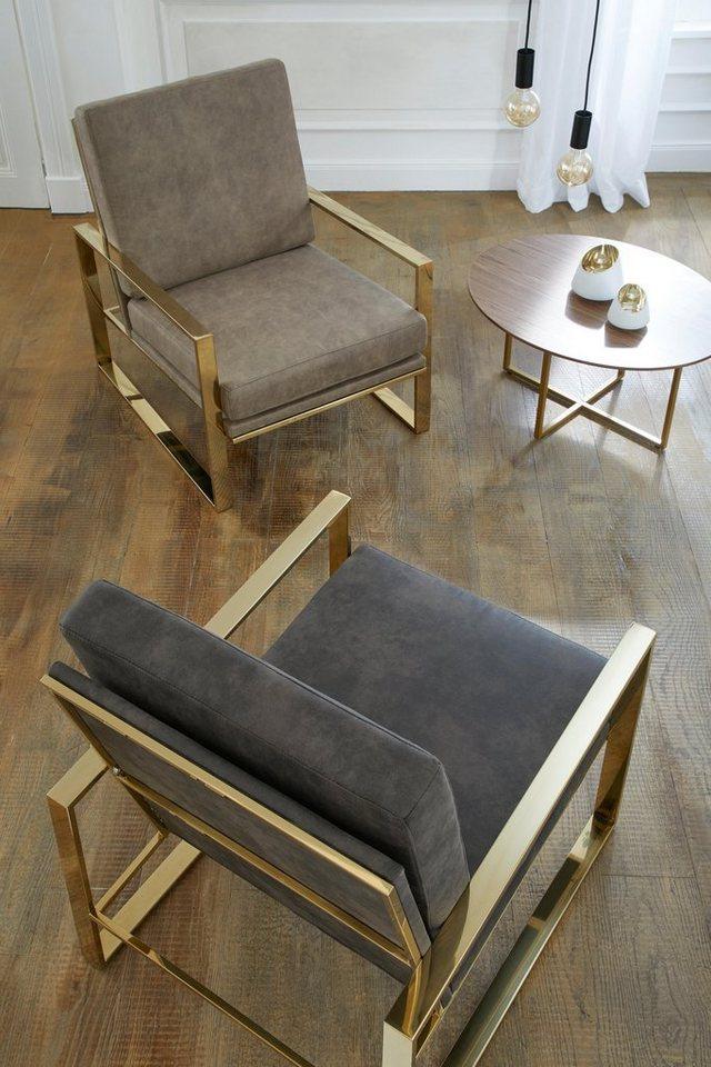 gmk home living sessel melnwai mit elegantem vergoldetem metallgestell und einem. Black Bedroom Furniture Sets. Home Design Ideas