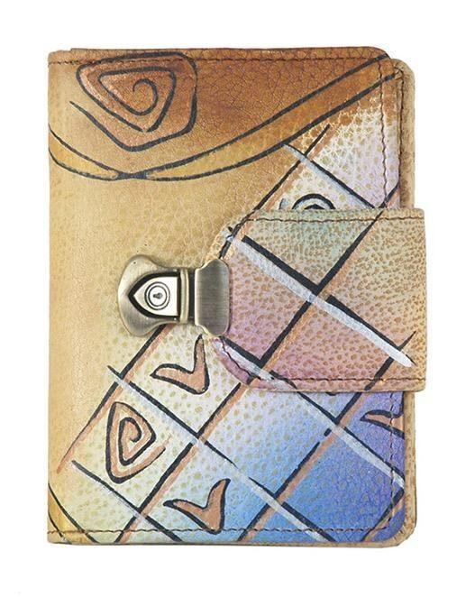 Art & Craft Geldbörse, aus handbemalten Rindsleder mit praktischen Schnappverschluss