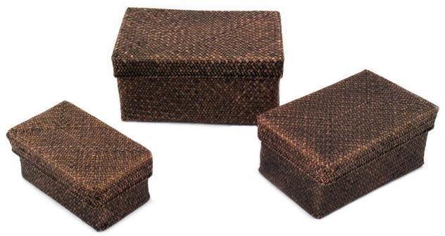 Aufbewahrungsboxen mit Deckel, Rattanoptik, 3er Set