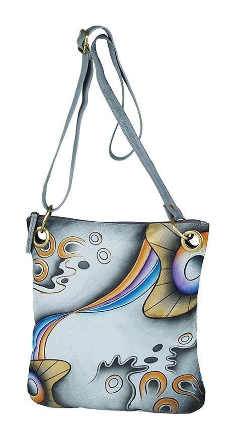 Art & Craft Umhängetasche, aus handbemalten Leder mit praktischem Reißverschluss-Rückfach | Taschen > Umhängetaschen | Grau | Leder | Art & Craft