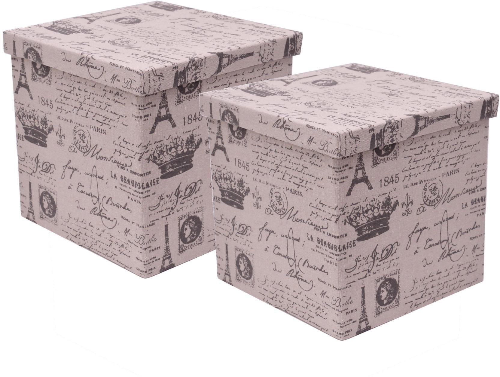Aufbewahrungsbox mit Deckel, quadratisch, 2er Set