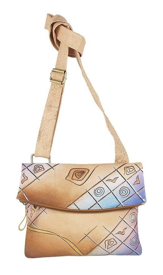 Art & Craft Umhängetasche, aus handbemalten Leder mit praktischem Rückfach | Taschen > Umhängetaschen | Leder | Art & Craft