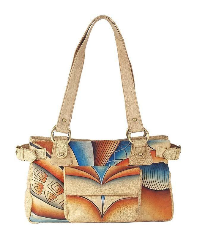 Art & Craft Shopper, aus handbemalten Leder mit praktischer Vortasche