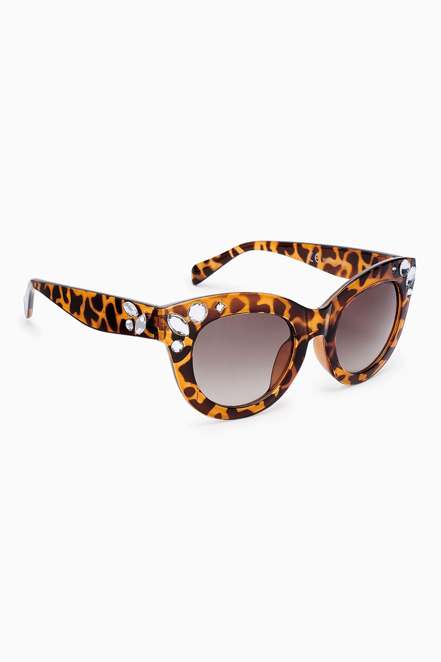 Next Eckige Sonnenbrille mit Schmucksteinen