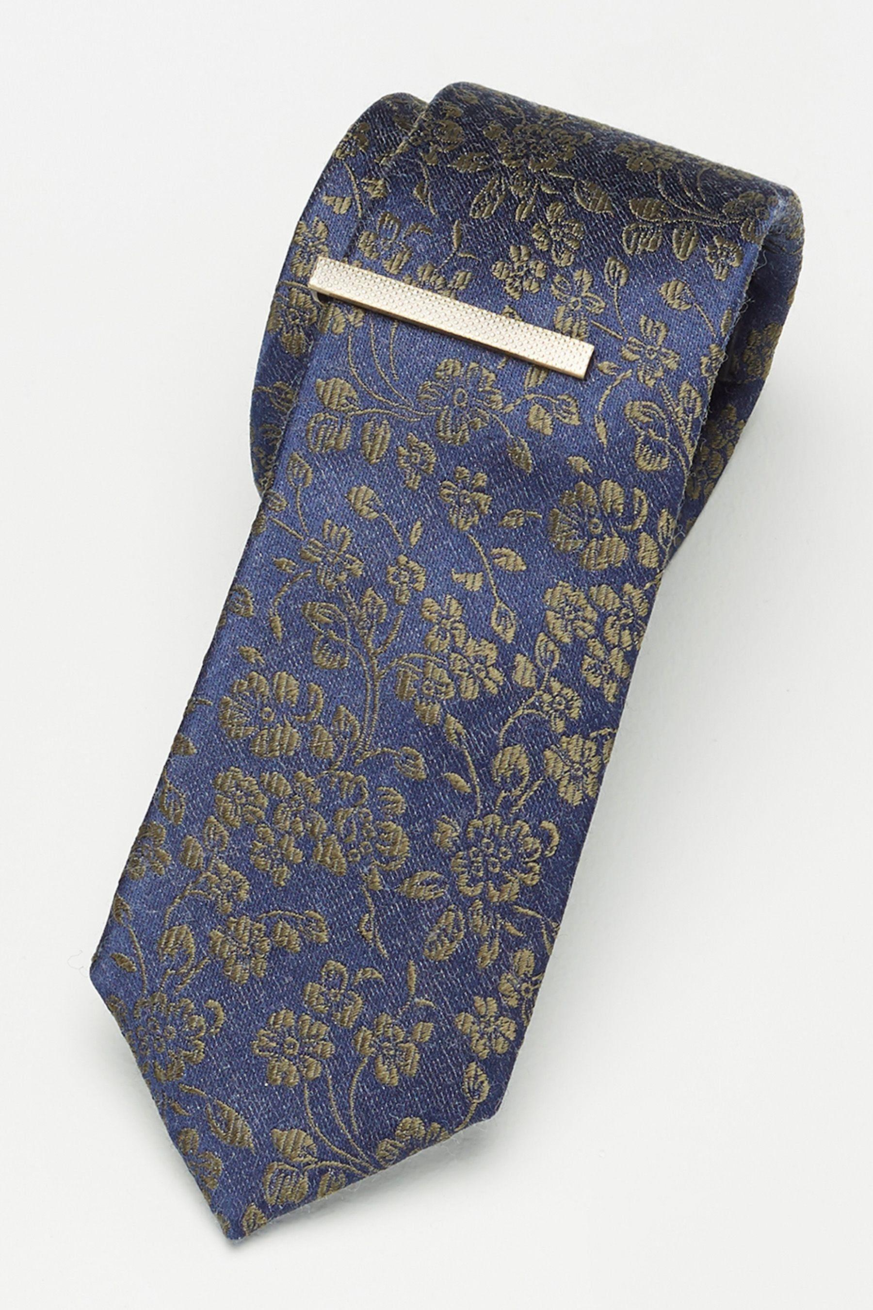Next Krawatte mit floralem Print und Krawattenklammer